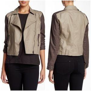 Eileen Fisher Linen Asym Moto Jacket Large